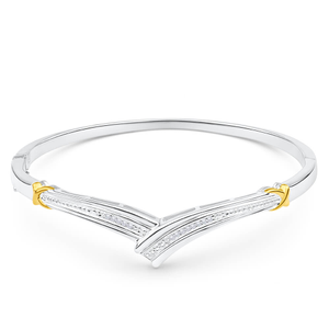 Sterling Silver Diamond Bead Bangle