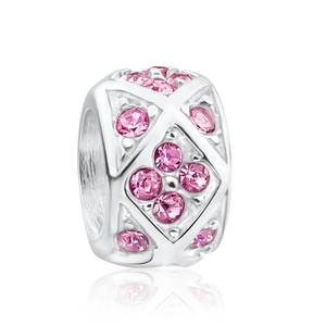 Amadora Sterling Silver Pink Cubic Zirconia Charm