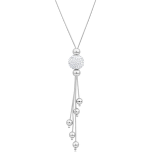 Sterling Silver Crystal Bead Snake Y-Chain 45cm