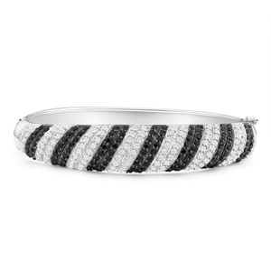 Sterling Silver Cubic Zirconia Black and White Striped 60mm Bangle