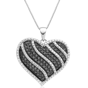 Black Diamond Sterling Silver Heart Diamond Pendant