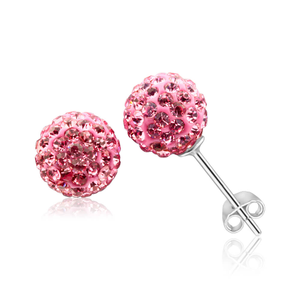 Sterling Silver Crystal Pink 8mm Stud Earrings