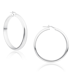 Sterling Silver 40mm Plain Half Round Hoop Earrings
