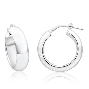 Sterling Silver 15mm Plain Half Round Hoop Earrings