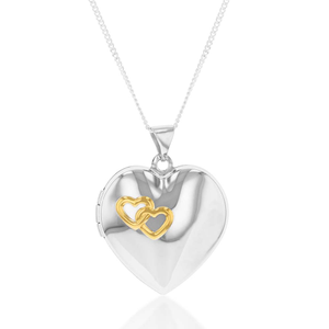 Sterling Silver with Gold Plated Interlocking Hearts Locket