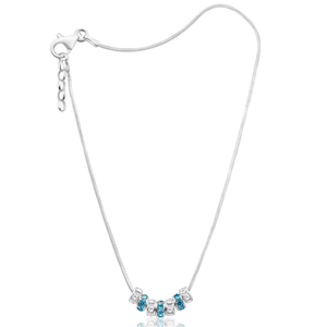 Sterling Silver Crystal 7 Rings of Luck Anklet