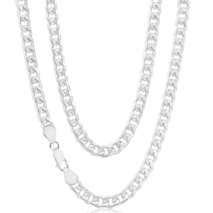 Sterling Silver Diamond Cut 55cm Curb Chain