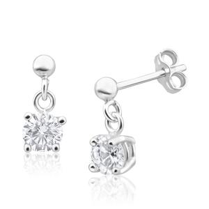 Sterling Silver Zirconia 5mm Claw Drop Earrings