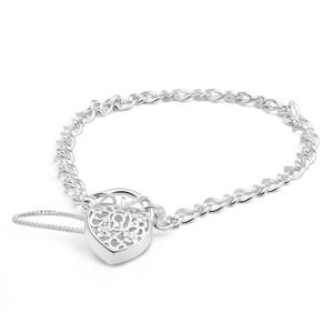 Sterling Silver Filigree Heart Figaro Padlock Bracelet