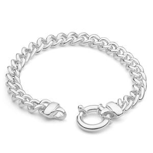 Sterling Silver Halo Curb Boltring Bracelet