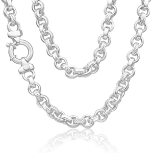 Sterling Silver Belcher Fancy Engraved Boltring 50cm Chain
