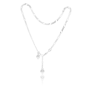 Sterling Silver Figaro Hearts Anklet