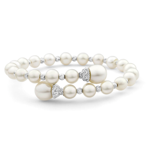Sterling Silver Pearl Torque Bangle