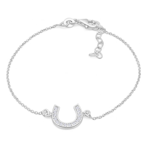 Sterling Silver Cubic Zirconia Horseshoe Good Luck 19cm Bracelet