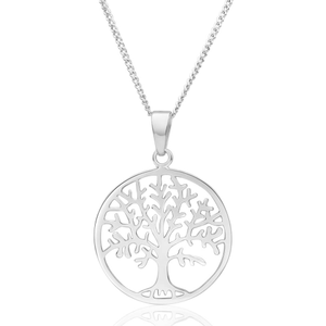 Sterling Silver 23mm Round Tree of Life Pendant