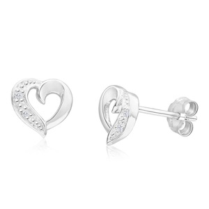 Sterling Silver Open Heart Diamond Stud Earrings