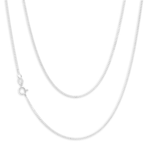 Sterling Silver 40 Gauge Diamond Cut 55cm Curb Chain