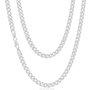 Sterling Silver 150 Gauge Diamond Curb 60cm Curb Chain
