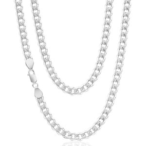 Sterling Silver Unisex Curb 70cm length Chain