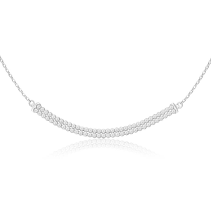 Sterling Silver Cubic Zirconia Double Row 45cm Chain