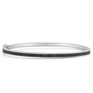Sterling Silver Cubic Zirconia Black 58mm Bangle