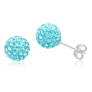 Sterling Silver Crystal Blue Ball 8mm Stud Earrings