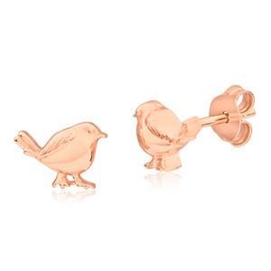Gold Plated Sterling Silver Robin Stud Earrings