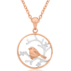 Sterling Silver Rose Gold Plated Cubic Zirconia Robin & Branch Circle Pendant