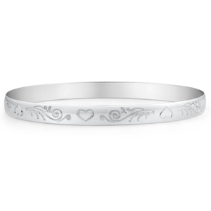 Sterling Silver Heart Engraved 65mm Bangle