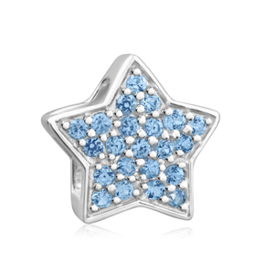 Amadora Sterling Silver Cubic Zirconia Blue Star Charm