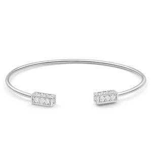 Sterling Silver Zirconia Rectangle End Torque Bangle