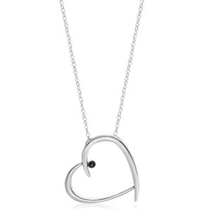 Black Diamond Sterling Silver Black Diamond Heart Pendant