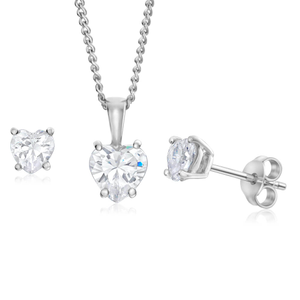 Sterling Silver Cubic Zirconia Jewellery Set With 45cm Chain