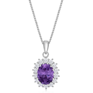 Sterling Silver Oval Cut Purple and White Halo Cubic Zirconia Pendant