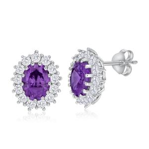 Sterling Silver Amethyst + Cubic Zirconia Oval Stud Earrings