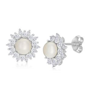 Sterling Silver Pearl + Zirconia Stud Earrings