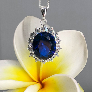 Sterling Silver Blue and White Zirconia Oval Pendant