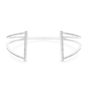 Sterling Silver Cubic Zirconia Fancy Torque 65mm Bangle