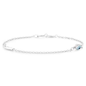 Steling Silver Fancy Evil Eye & Hand 14.5cm Bracelet