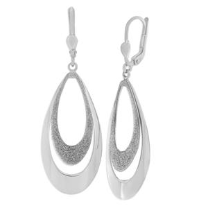 Sterling Silver Fancy Glitter Drop Earrings