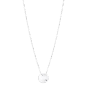 Sterling Silver Cubic Zirconia Disk 43cm Chain