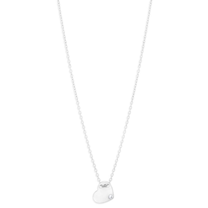 Sterling Silver Cubic Zirconia Heart 43cm Chain