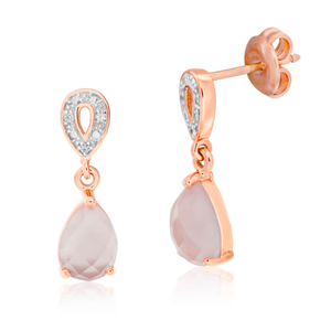 Gold Plated Sterling Silver Cubic Zirconia + Rose Quartz Drop Earrings