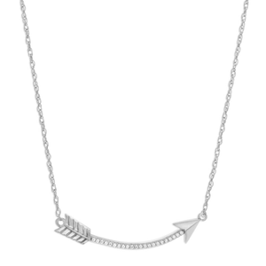 Sterling Silver Cubic Zirconia Curved Arrow Chain