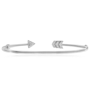 Sterling Silver Cubic Zirconia Curved Arrow Bangle