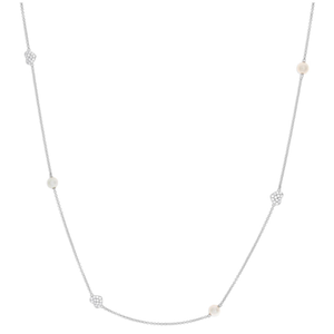 Sterling Silver Cubic Zirconia + Water Pearl Chain