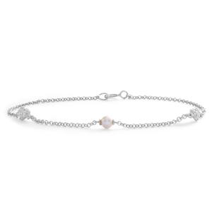 Sterling Silver Cubic Zirconia + Pearl Bracelet