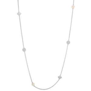 Sterling Silver Cubic Zirconia + Pearl Chain