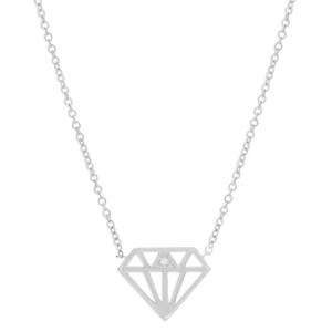 Sterling Silver Diamond Shaped Cutout Chain