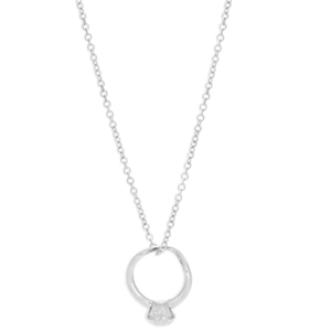 Sterling Silver Diamond Ring 45cm Chain